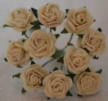 1 cm IVORY Mulberry Paper Roses
